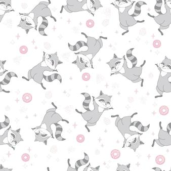Modèle sans couture de vecteur avec mignon raton laveur, beignets et sucettes sur fond rose. illustration vectorielle.