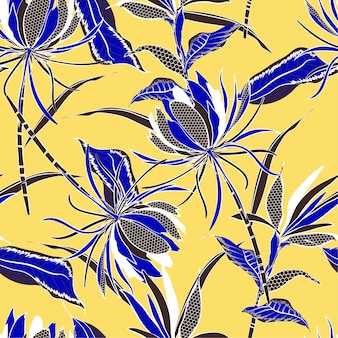 Modèle sans couture de vecteur de motif de fleurs et feuilles