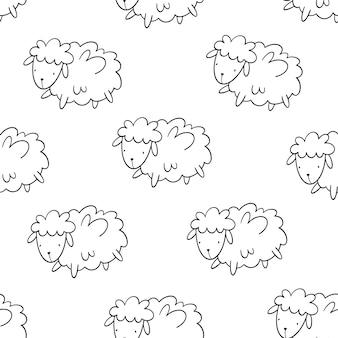 Modèle sans couture de vecteur avec des moutons.