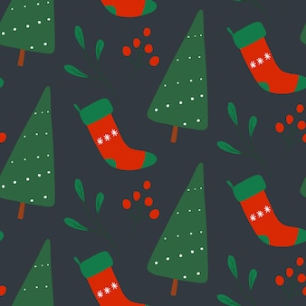 Modèle sans couture de vecteur nouvel an noël répéter imprimer conception de vacances d'hiver sur fond gris
