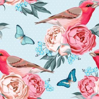 Modèle sans couture de vecteur avec des oiseaux et des fleurs