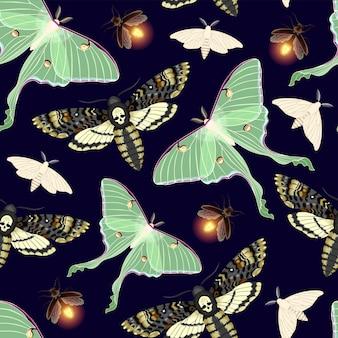 Modèle sans couture de vecteur avec papillon de lune très détaillé, achérontie et lucioles