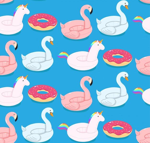 Modèle sans couture de vecteur de piscine flotte flamingo, licorne, cygne et beignet.
