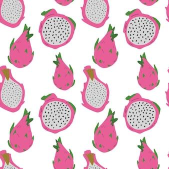 Modèle sans couture de vecteur avec des pitayas roses