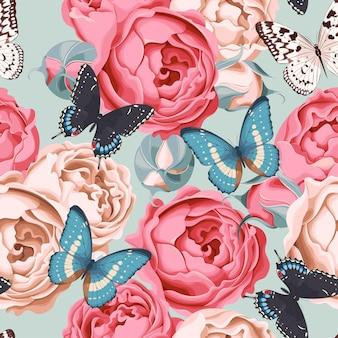 Modèle sans couture de vecteur avec des pivoines et des papillons vintage