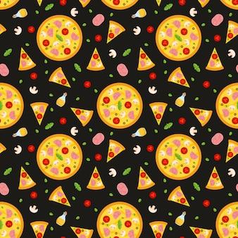 Modèle sans couture de vecteur avec pizza. pour les fonds d'écran, le papier d'emballage, les cartes et les illustrations web.