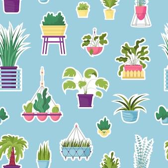 Modèle sans couture de vecteur avec des plantes en pot maison texturée colorée.