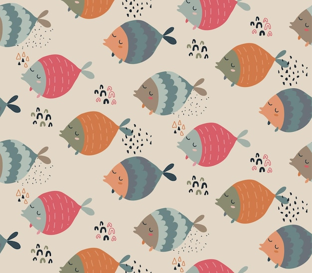 Modèle sans couture de vecteur avec des poissons drôles dans un style scandinave abstrait