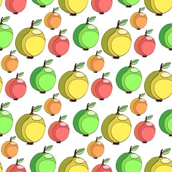 Modèle sans couture de vecteur avec des pommes colorées. fruits stylisés de fond. fond d'écran apple.