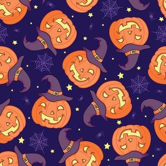Modèle sans couture de vecteur pour halloween. citrouille, fantôme, chauve-souris, bonbons et autres articles sur le thème de halloween. modèle de dessin animé lumineux pour halloween