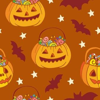 Modèle sans couture de vecteur pour halloween avec des citrouilles et des chauves-souris