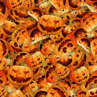 Modèle sans couture de vecteur pour halloween avec des citrouilles de dessin animé