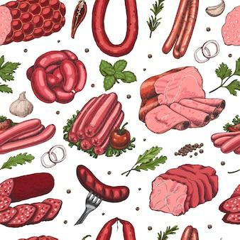 Modèle sans couture de vecteur avec des produits à base de viande de couleur différente