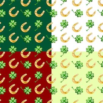 Modèle sans couture de vecteur de quatre couleurs de bonne chance, avec fer à cheval et feuilles intelligentes.