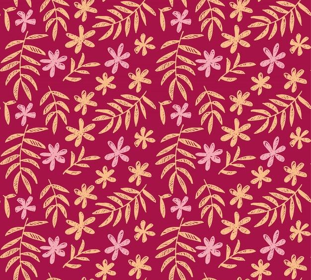 Modèle sans couture de vecteur rose vif de floral tropical