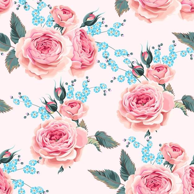 Modèle sans couture de vecteur avec des roses et ne m'oublie pas fleur