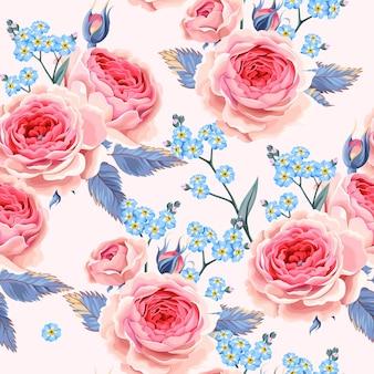 Modèle Sans Couture De Vecteur Avec Des Roses Et Ne M'oubliez Pas De Fleurs Vecteur Premium
