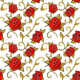 Modèle sans couture de vecteur avec des roses