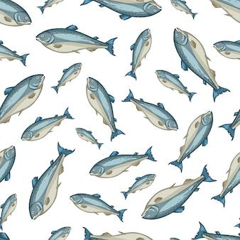 Modèle sans couture de vecteur de saumon sur blanc