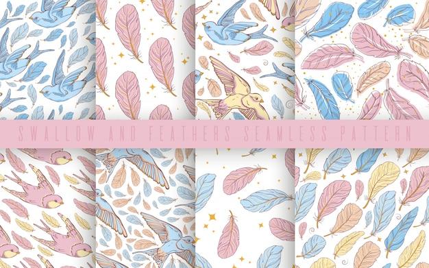 Modèle sans couture de vecteur sertie d'hirondelles et de plumes. couleur pastel.