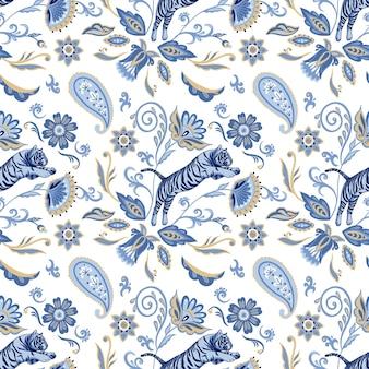 Modèle sans couture de vecteur avec des tigres nordiques bleus et des fleurs et des feuilles asiatiques abstraites