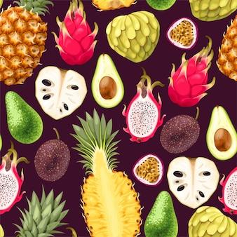Modèle sans couture de vecteur avec des tranches de fruits tropicaux