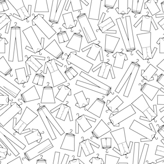 Modèle sans couture de vecteur de vêtements imprimés tissu papier d'emballage motif noir et blanc