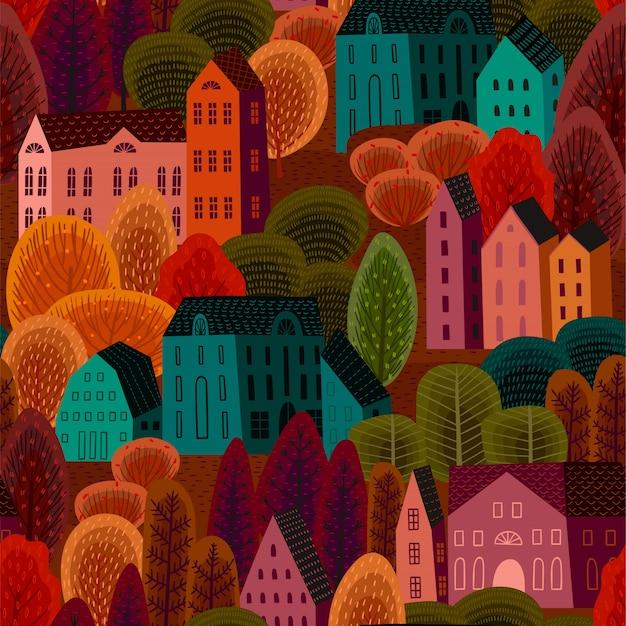 Modèle sans couture de vecteur avec la ville d'automne