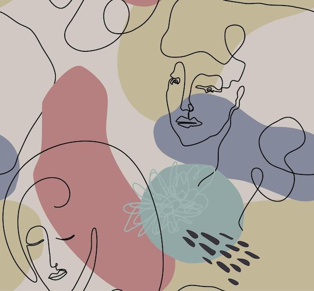 Modèle sans couture de vecteur avec visage de femme dessiné en ligne continue noire