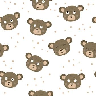 Modèle sans couture de vecteur avec des visages d'ours et différentes émotions. répétez l'arrière-plan avec des autocollants emoji animaux. papier numérique avec des têtes et des expressions amusantes