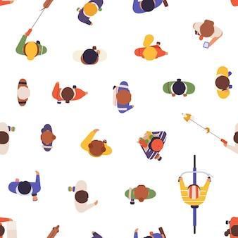 Modèle Sans Couture De Vecteur De Vue De Dessus De Personnes. Les Passants De La Rue, Les Habitants, Les Hommes Et Les Femmes De La Texture Ci-dessus. Société, Foule, Origine De La Population Urbaine. Textile, Papier Peint, Conception De Papier D'emballage. Vecteur Premium