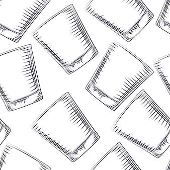 Modèle sans couture de verre à l'ancienne dessiné à la main