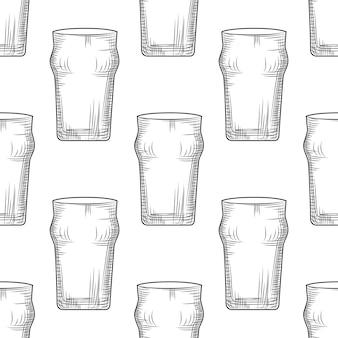 Modèle sans couture de verre à bière vide. chope à biere.