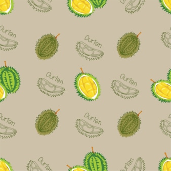 Modèle sans couture avec de la viande de durian et durian sur fond beige, illustration vectorielle
