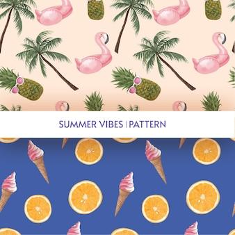 Modèle sans couture avec des vibrations estivales