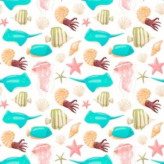 Modèle sans couture avec la vie marine de dessin animé. différents types de poissons colorés, méduses, étoiles de mer et mollusques.