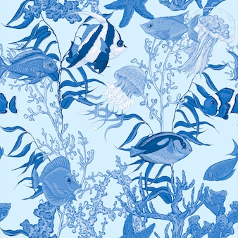 Modèle sans couture de la vie de mer, illustration vectorielle sous-marine