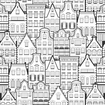 Modèle sans couture de vieilles maisons style hollande style