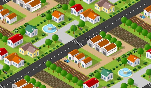 Modèle sans couture de village isométrique