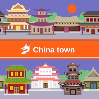 Modèle sans couture de la ville de chine