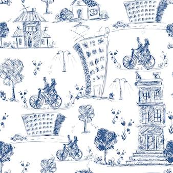 Modèle sans couture de la ville doodle