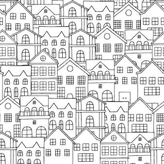 Modèle sans couture ville avec maisons dessinées à la main.
