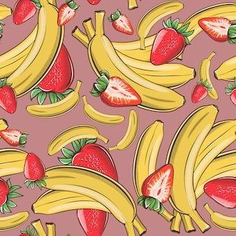Modèle sans couture vintage avec des bananes et des fraises.
