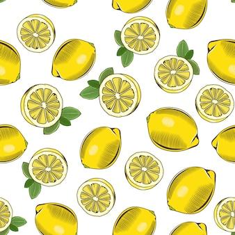 Modèle sans couture vintage avec des citrons.