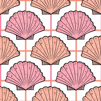 Modèle sans couture vintage de coquillages de mer