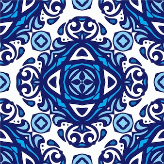 Modèle sans couture vintage damassé à partir de carreaux orientaux bleus et blancs, ornements. peut être utilisé pour le papier peint, les arrière-plans, la décoration pour votre design, la céramique, le remplissage de page et plus encore.