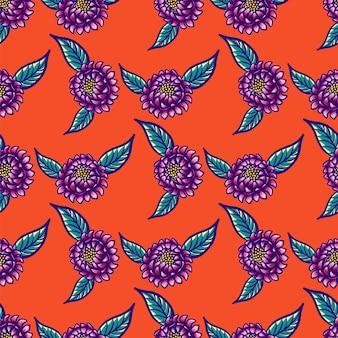 Modèle sans couture vintage dessiné main floral avec fleurs et feuilles sur fond rouge.