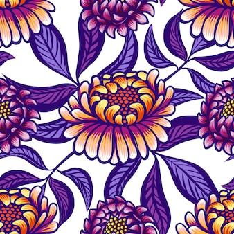 Modèle sans couture vintage dessiné main florale avec fleurs et feuilles.