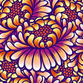Modèle sans couture vintage dessiné main florale avec des fleurs.