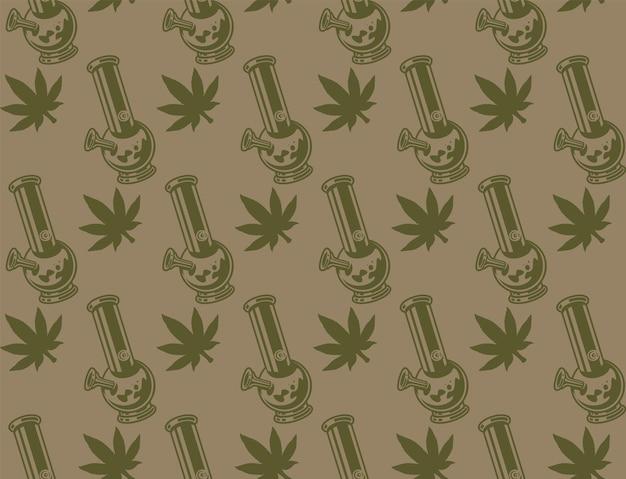 Modèle sans couture vintage avec une feuille de cannabis, bong.
